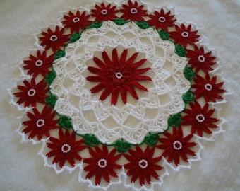 Holiday Christmas Crochet Beautiful Bead Flower Doily