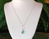 Apatite Necklace, Sterling Silver, Minimalist Necklace, Delicate, Aqua Gemstone Necklace, Apatite Jewelry, Dainty Necklace, Layering