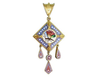 Butterfly Micromosaic Pendant filigree antique gold yellow 18k blue red white color compartment in back Antique pendant circa 1860 for sale