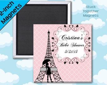 Paris Bebe Shower Favor Magnets - 2 Inch Squares - Set of 10 Magnets