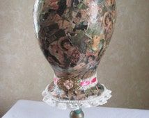 Decoupage Mannequin Head, Victorian Hat/Wig Display on Painted Candle Holder