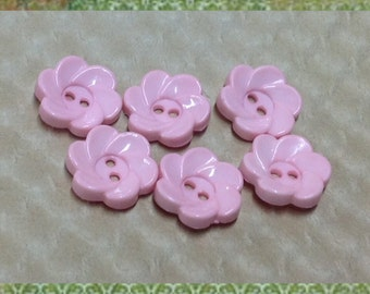 Pink Flower Buttons - Vintage Flower Buttons - Sewing Button - Girly Buttons - Craft Supplies - Baby Button - B08 - Set of 6 Vintage Buttons