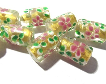 gold foil lampwork glass beads roses lampwork beads eight 8 11mm x 18mm roses