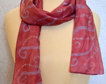 Long vintage silk scarf: Hand Painted Pink and Purple Swirls
