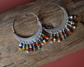 Crescent Moon Hoop Earrings with African Christmas Beads