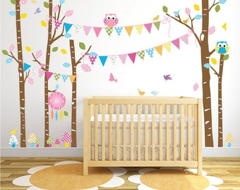 Wall Decal Nursery, Baby Nursery Wall Decal, Birch Tree Wall Decals, Nursery Wall Decals