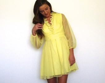 60s Sunny Yellow Ruffle Neckline Micro Mini Skater Dress xs s