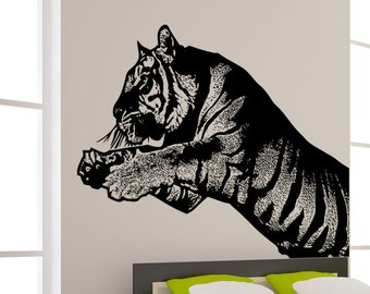 Vinyl Wall Art Decal Sticker Leaping Tiger 5483m