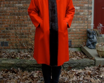 Vintage 70's bright red swing coat with mink fur lining, worsted wool, size XL