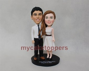wedding cake topper, custom wedding cake topper, custom bobbleheads, bobbleheads cake toppers, personalized bobbleheads, Valentine gift
