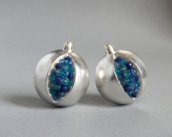 Pomegranate Clip On Earrings - Silver and Blue Gemstone Earrings - Pomegranate Earrings - Pomegranate Silver Clip On Earrings - Pomegranate