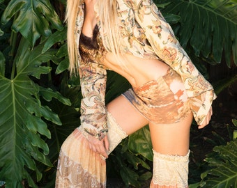 Thigh High Golden Paisley Gypsy Sheer Flowing Leggings, Thigh High Leggings, Festival Leggings, Leg Warmers, Belly Dance, Tribal Fusion