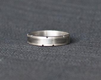 Men's Wedding Band - Rustic Sterling Silver - 5mm band - Men's Wedding Ring - oxidized wedding band Unique Men's Wedding Band Boyfriend gift