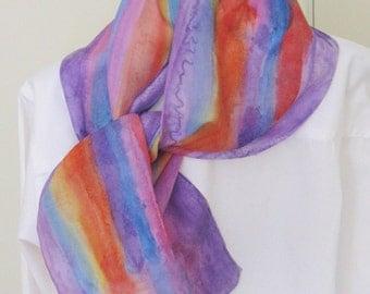 Hand painted silk scarf striped purple orange blue yellow 8x54 Canadian design scarf