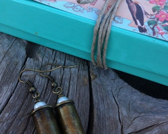 Bullet Earrings Casing Jewelry Jo'ellie rustic pearls western country cowgirl bridal wire wrapped rodeo hunting girl accessories set caliber