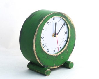 LABOR DAY SALE Desk Clock Circle Green, Table Clock, Rustic Home Decor, Table Wood Unique Clock, Fall decor, clock