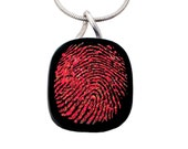 Memorial jewelry - Personalized custom finger print fused glass dichroic necklace