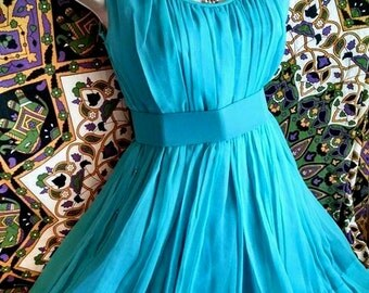 1940's Stunning Romantic Turquoise Blue Spring Tea Dress // Gorgeous Vintage with Modern Appeal + Flattering Cut, Swishy Skirt
