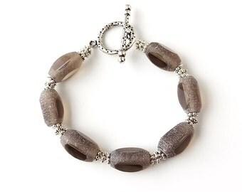 Grey Bead Bracelet, Chunky Grey Glass Bead Bracelet with Toggle Clasp, Bead Bracelet Jewellery, UK (1914)