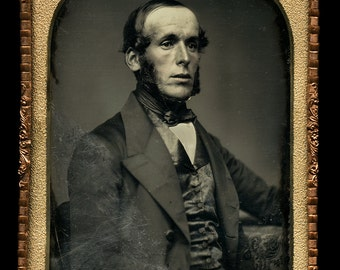 Large Half-Plate Daguerreotype of Man with Sideburns in Suit