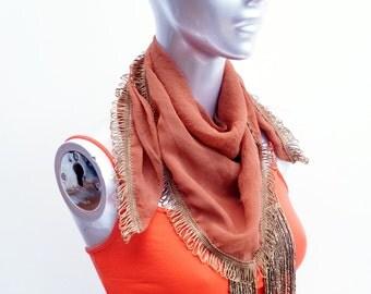 Boho Orange triangle fringe detail scarf