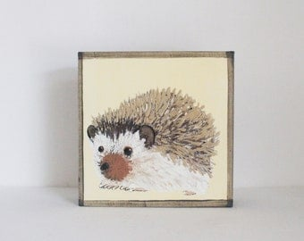 woodland nursery art-hedgehog art-forest animal prints, art block, nursery wall decor- kid room decor- gender neutral nursery-redtilestudio