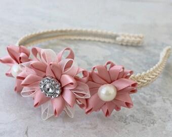 Flower Headband, Bridesmaid Headband, Blush Bridal Headband, Blush Bridal Hair Piece, Blush Wedding Hair Accessories, Wedding Headband