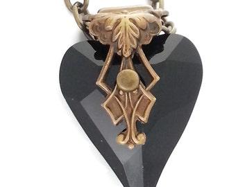 Black Swarovski Crystal Heart of Love Necklace in Antiqued Ox Brass Filigree by Dr Brassy Steampunk