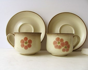 SALE 2 Vintage Denby Gypsy Cups Saucers Stoneware England Flowers Kitchen Dishes Serving Coffee Tea Tableware Mugs More Denby in my Shop