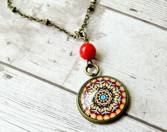 mystic mandala cabochon pendant, rainbow, hippie, yoga, boho, colorful