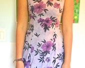 FREE SHIPPING Purple Floral Mini-dress, 90s, Women's Small/Medium