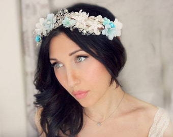 bridal headband, bridal headband ,SEA BREEZE Beach, Romantic Flower Crown, Ivory Wedding Flower Headband, hair flower, blue,