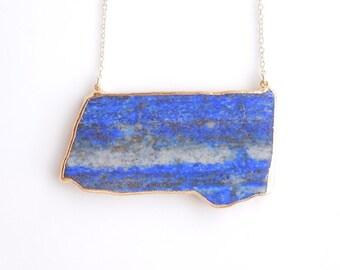 Lapis Lazuli Pendant Necklace - Long Necklace - OOAK Jewelry