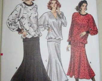 Vogue 9964 Womens Loose Fitting Pullover Top & Flared Skirt Sewing Pattern Bust 34, 36, 38