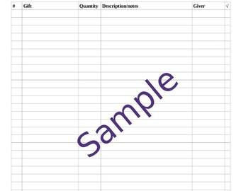 Wedding Gift Recorder, Bridal Shower, Wedding Shower Gift Record Sheet, Printable, Purple Teacups
