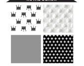 ROYAL BLACK- 3 piece monochrome baby bedding - gender neutral crib bedding set - black white baby bedding