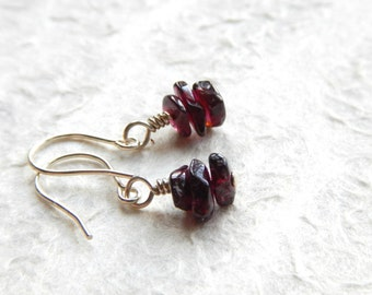 Rustic Garnet Earrings - Sterling Silver / Earthy Minimalist Jewelry, Merlot Red, January Birthstone Gift for Her