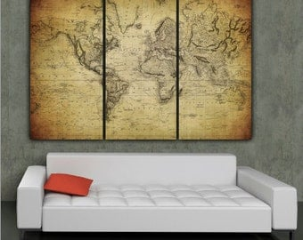 Large World Map Art on Canvas Gallery wrap canvas World Map