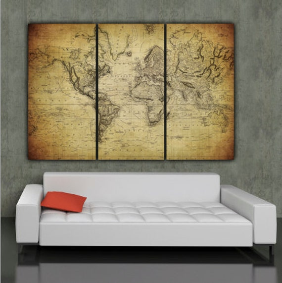 1850 vintage world map art on canvas vintage map set for description three panel vintage world map gumiabroncs Image collections