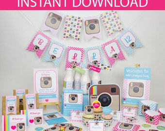 Instagram Party DIY Printable Kit - INSTANT DOWNLOAD