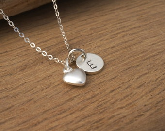 GIRLS INITIAL NECKLACE with Heart, Sterling Silver, Gift for Daughter from Dad,Girls Initial Necklace, Personalized Valentine Necklace