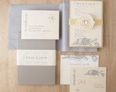 "Elegant Ivory & Gold Luxury Boxed Wedding Invitations, Grey/Gray - ""Modern Romance Box Invite"" Sample - NEW LOWER PRICE!"