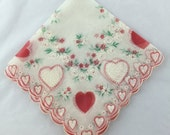Vintage Valentine Hankie Printed Hearts Hanky with Hearts and Flowers Handkerchief Printed Red White Green