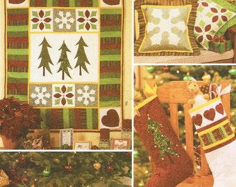 Holiday Quilting Appliqued Stockings Christmas Wallhanging Quilted Tree Skirt Christmas Pillows McCalls Crafts Sewing Pattern 3843  UnCut