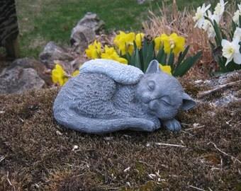 Cat Statue, Pet Memorial, Concrete Cat Angel Statue, Garden Statues, Angel  Cats