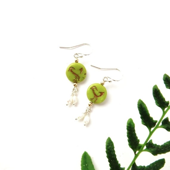 Bird Earrings / Sterling Freshwater Pearl Earrings / Bird Theme Jewelry / Nature Lover USA Handmade Bird Lover Gifts Under 20 / Quail Chick