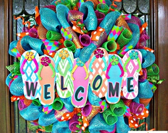 Welcome Flip Flop Wreath