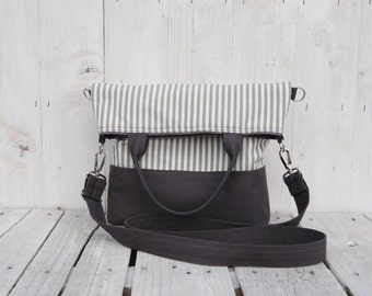 Tote Bag Canvas, Striped cross body messenger, eco friendly bag, charcoal foldover carrier, unique gift for college students, macbook pack