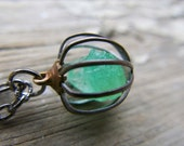 Green Emerald Birthstone Jewelry May Gemstone Crystal Necklace Rough Raw Stone Vintage 1960s Cage Pendant
