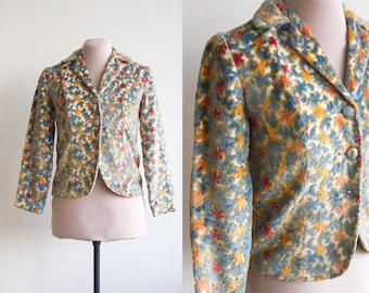 SALE / 60's Tapestry Jacket / Velvet Mod Blazer / Carpet Blazer / Small